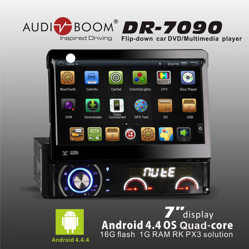 "1 Din Pure Android4.4 os quad core 7"" Car audio DVD Player with RDS motorized retractable Monitor multimedia player DR7090(China (Mainland))"