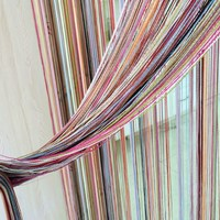 Multi-color line curtains fashion home decoration sheer curtain cute strip tassel