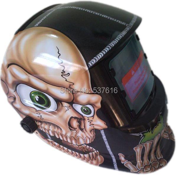 Solar Electric Mask Auto Darkening Welding Helmets Skull Head Flame Welder Cap For Welding Equipment(China (Mainland))