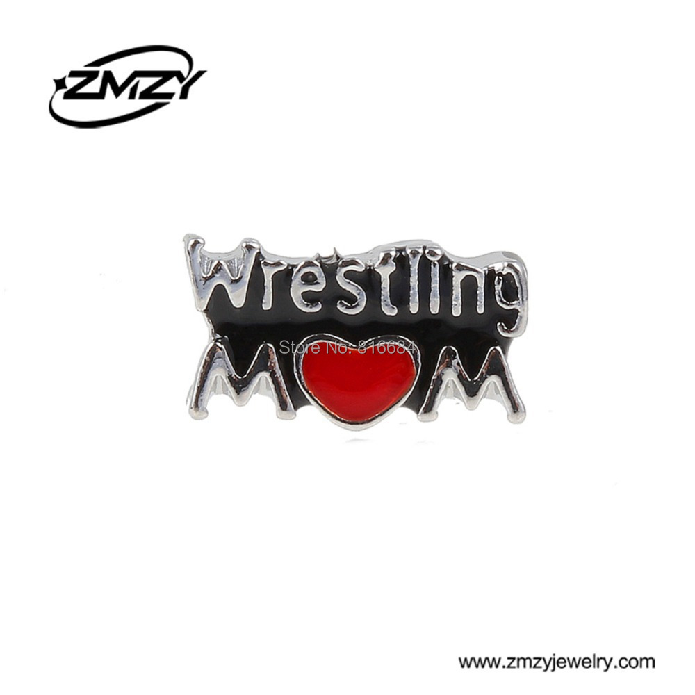 Free Shipping !!(20pcs/lot ) 2016 New Wrestling Mom Floating Charms For Glass Locket Floating Charms Mix Loving MOM(China (Mainland))