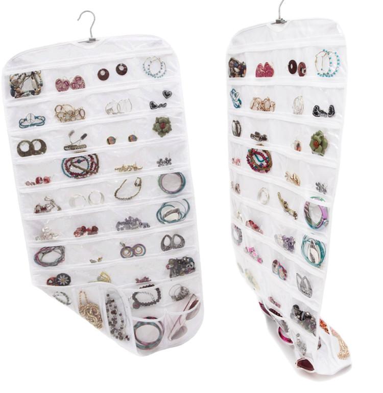 Meinayopin 80-Pocket Hanging Jewelry and Accessories Organizer, White Vinyl Jewelry storage bag(China (Mainland))