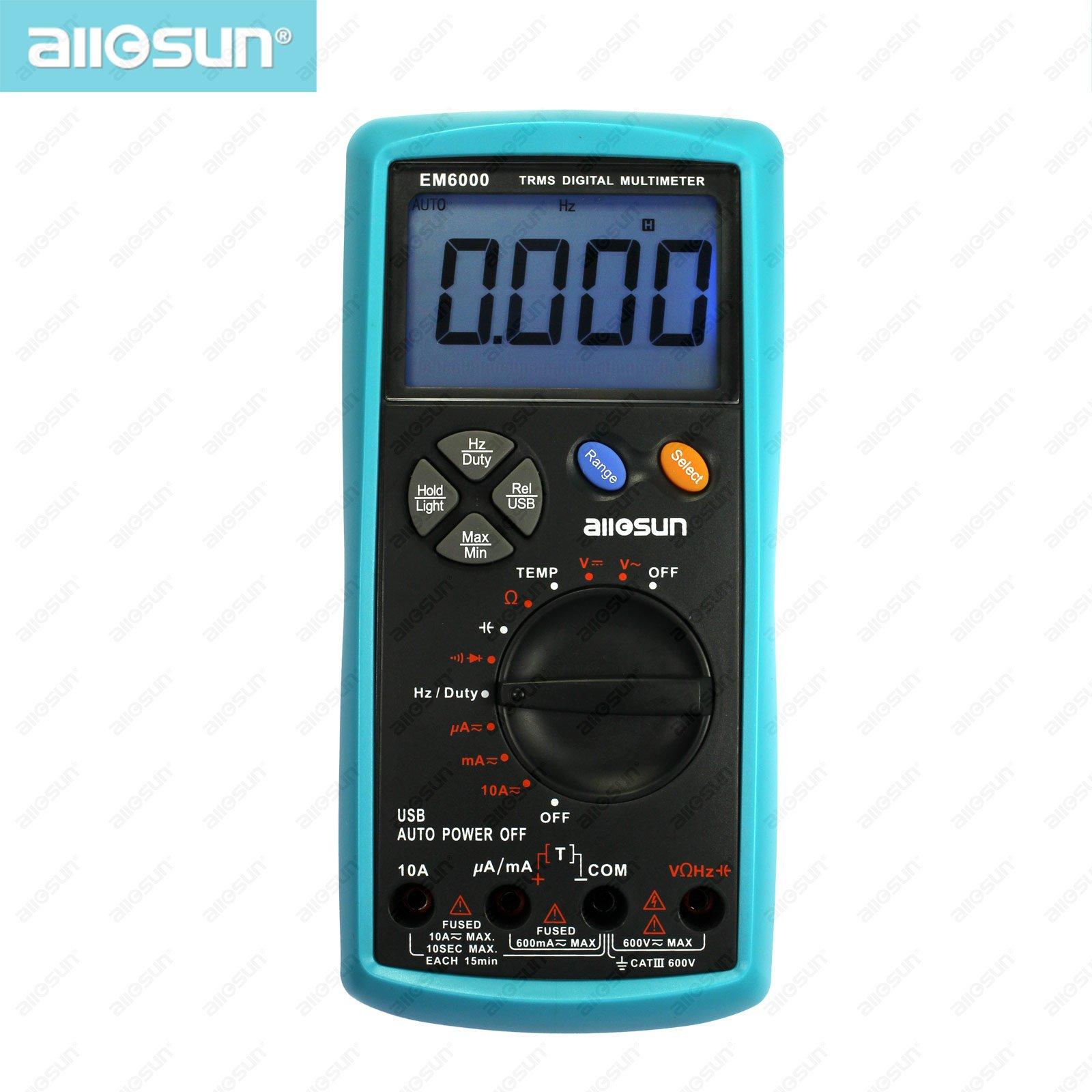 all-sun EM6000 Professional True RMS digital multimeter 3 5/6-digit LCD display multimeter max/min value recording tester