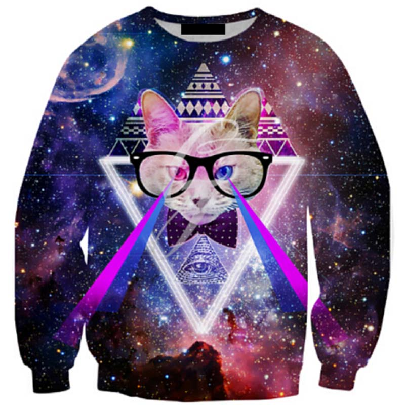 New 2016 men 3d sweatshirts outer space cat printed men 39 s for Outer space clothing