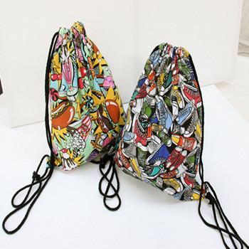 Harajuku Graffiti Backpack Bag Drawstring Mochilas Gym Sport Canvas Shoe Gym Sack Swim Dance Sac A Dos School Summer Beach Bag(China (Mainland))