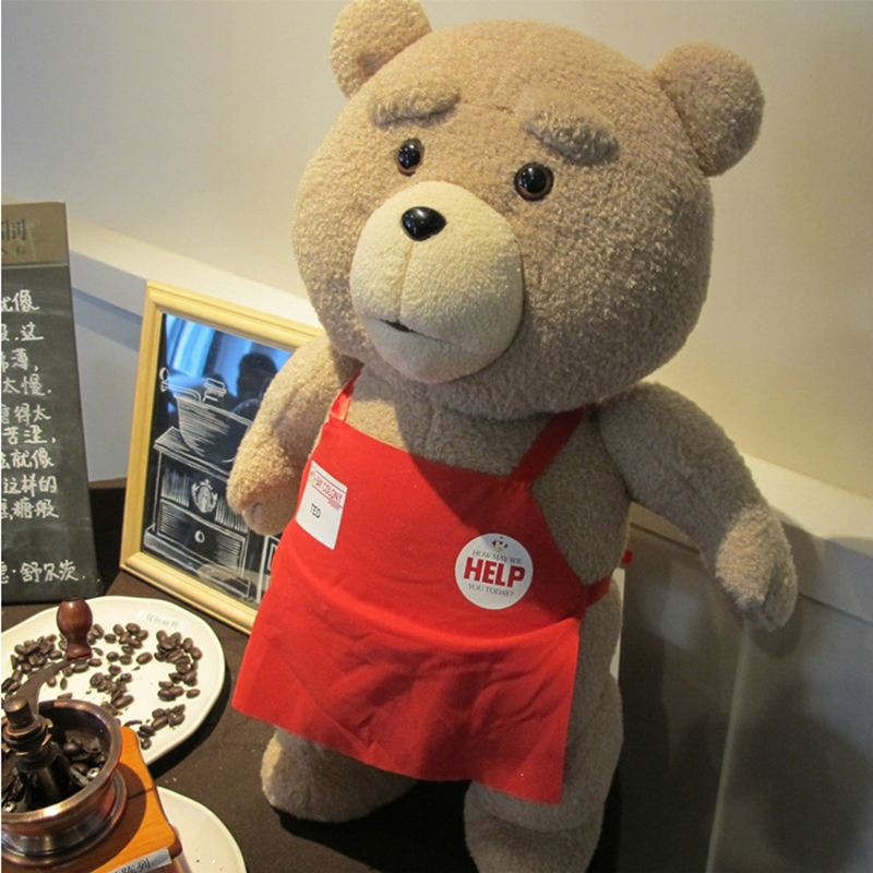 Hot sale America Movie 45CM Giant Stuffed Ted Bear Plush Toy Lift size Teddy Bear Cheap Teddy Bear wIth Apron birthday gift(China (Mainland))