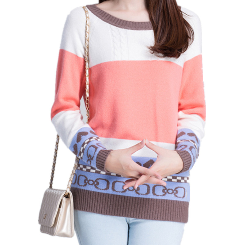 Women Sweet Striped O-Neck Cashmere Blend Pullovers Long Sleeve Patchwork Jacquard Inclined Shoulder Knitted Sweaters MSGTC36150(China (Mainland))