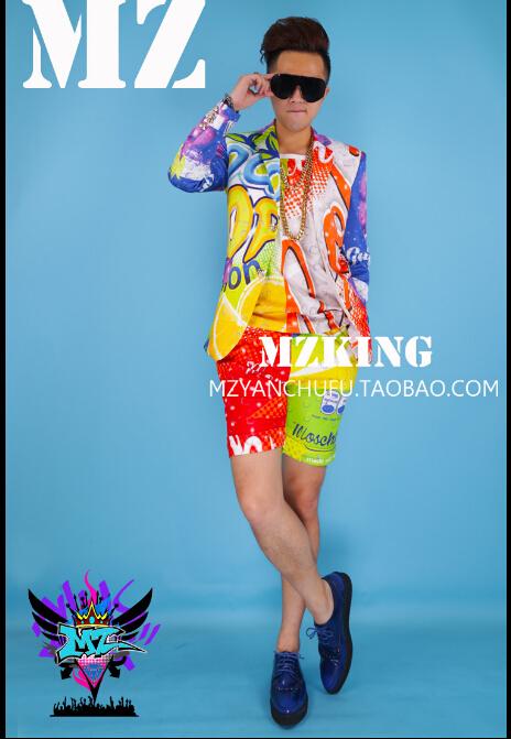 New 2015 hot fashion men singer DJ nightclub right Zhi-Long GD lemon cola color shorts suit dress costumes clothing plus sizeОдежда и ак�е��уары<br><br><br>Aliexpress