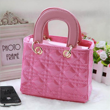 LIXUN Children Famous Brand Handbags Kids Geometric Top-handle Tote Bag PU Leather For Girls Fashion Bags Bolsa England Style(China (Mainland))