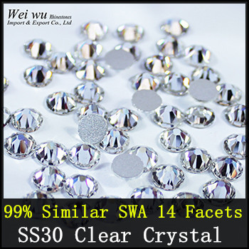 7big+7small 14 Facets 99% Similar Swa 288pcs SS30 Crystal AB Glass Stones Loose For Professional Buyers Non Hotfix Rhinestone(China (Mainland))