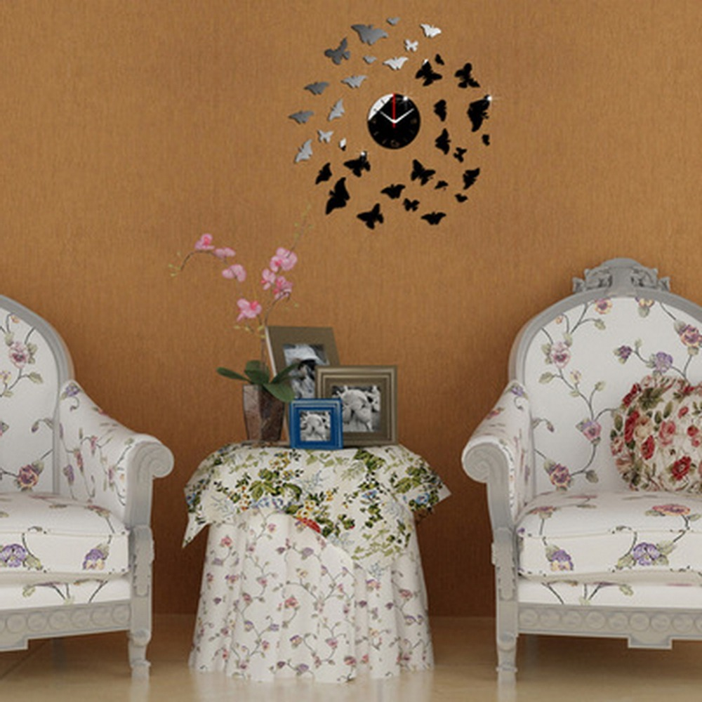 New Creative Butterfly Mirror Styleall Clock Sticker With Package Home Decor Decals Wall Fashion Design Removable Free Shipping(China (Mainland))