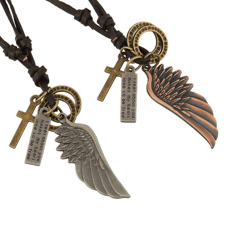 Punk Angle Wing Leather Vintage Cross Friendship Necklaces Retro Cowhide <font><b>Neckless</b></font> For Men Colar De Couro Colar Masculino Couro