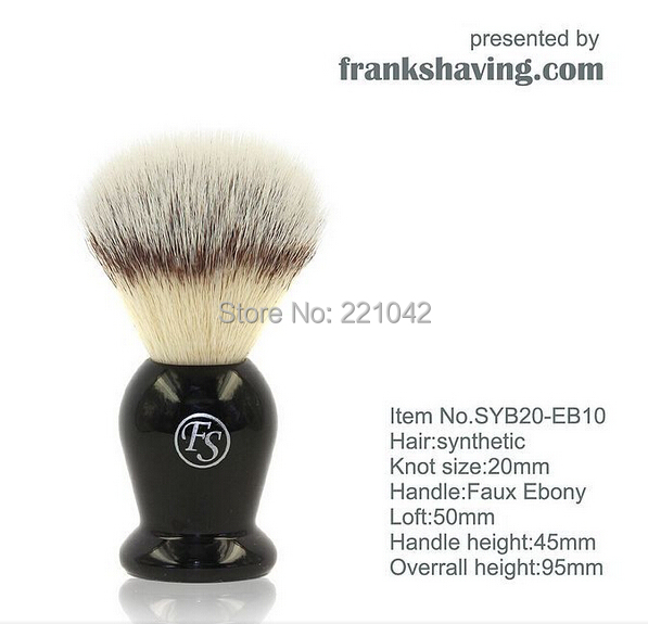 Frank shaving PUR-TECH synthetic Faux Silvertip men's brush black resin handle knot 20mm+FREE STAND