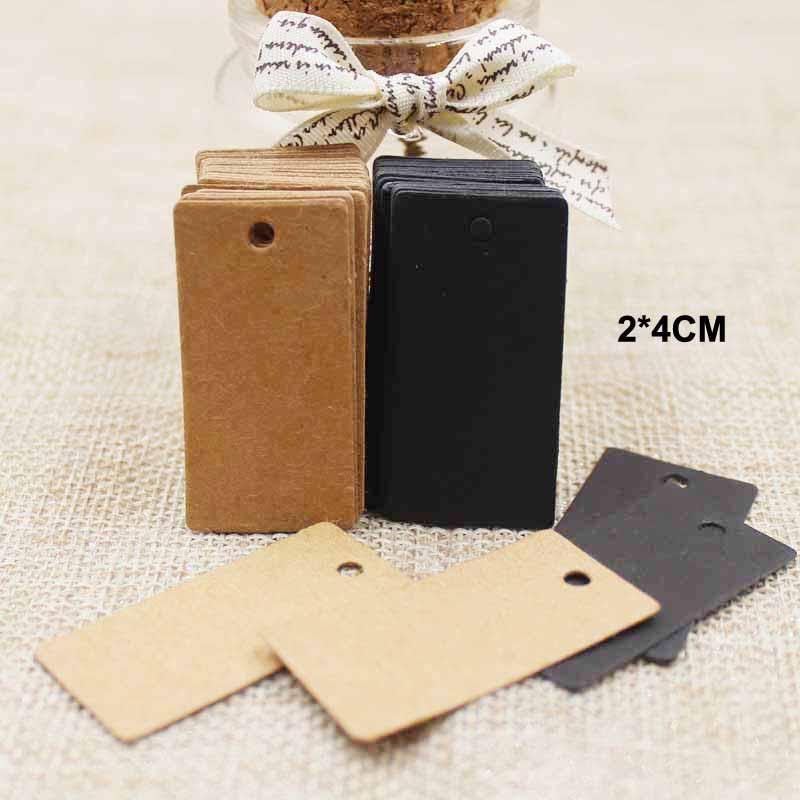 4*2cm cardboard blank Gift Tags black/kraft retangular Wedding /favors /products Decoration Mini tag Label 100pcs(China (Mainland))