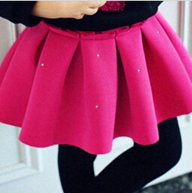 Wholesale  Fashion  Thicken Space Cotton Girls Skirt  Kids  Umbrella Skirt  Pink Black<br><br>Aliexpress