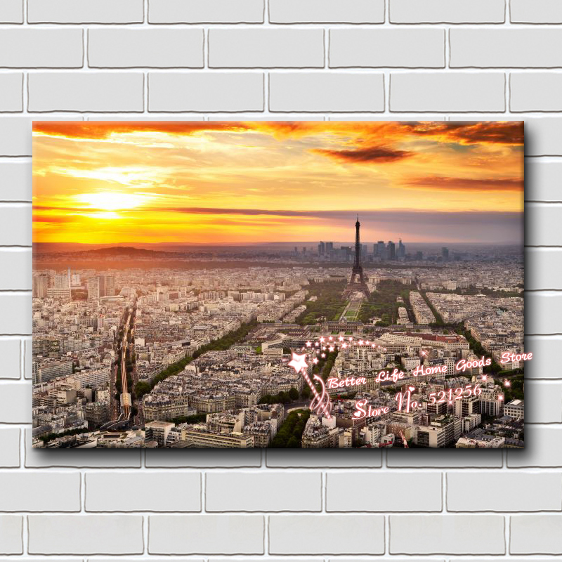 Home decoration printed oil painting canvas prints no frame NL64 wall decor Eiffel Tower Paris city in the sunset landscape(China (Mainland))