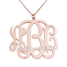 YH-MN03 Rose Gold Plated 1.25 inch Monogram Necklace 3 Letter Personalized Initials Name Necklace 16inch+2inch Extending Chain(China (Mainland))