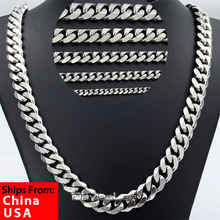Ship From US 3/5/7/9/11mm Mens Curb Chain Silver Tone Stainless Steel Necklace Chain High Quality Fashion Jewelry DLKNM07(China (Mainland))