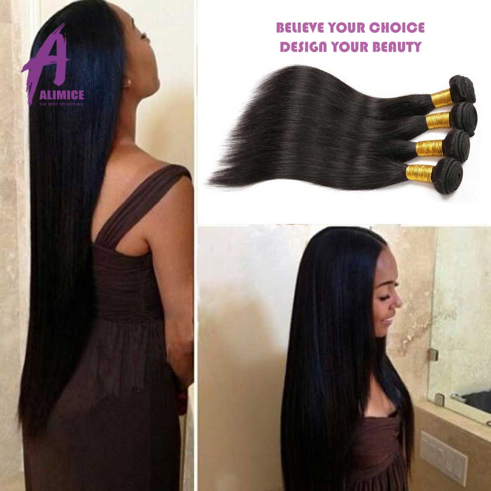 7A Brazilian Virgin Hair Straight Virgin Straight Brazilian Hair 4 Bundles Brazilian Straight Hair Weave Bundles Alibarbara Hair