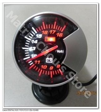 2.5 INCH 60MM Car Voltage Gauge, Black Smoke Style Face, Car Gauge, Car Meter, Include Sensor and Wires(China (Mainland))