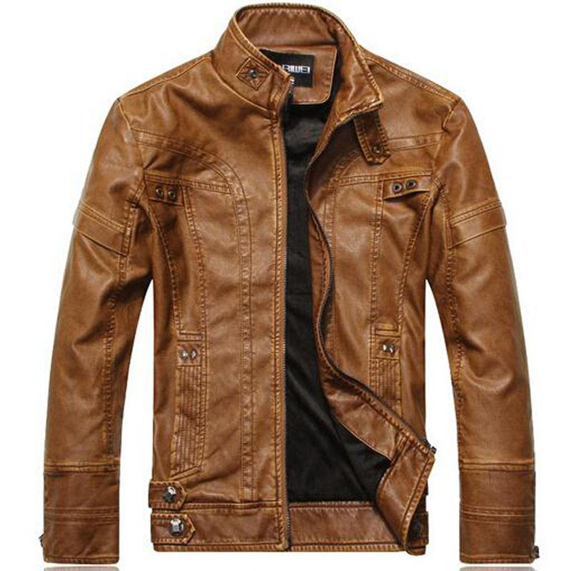 Brand Clothing Motorcycle Leather Jackets Men Jackets Jaqueta de couro Masculina Bomber Leather Jacket Inverno Couro Mens Jacket