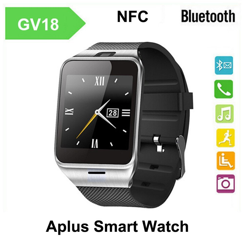 """Wearable Aplus GV18 Smartwatch Phone 1.55"""" Bluetooth Smart Phone SIM Card Support NFC 1.3MP Cam Sync Call SMS for IOS Android(China (Mainland))"""