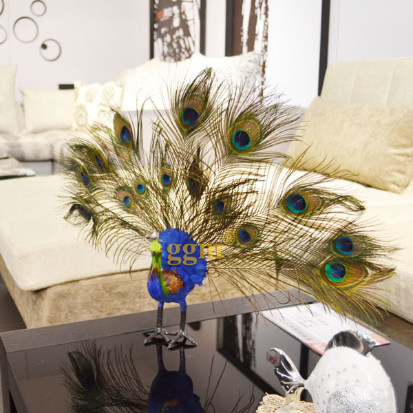 High artificial peacock feather decoration home ornaments for Home decorations peacock