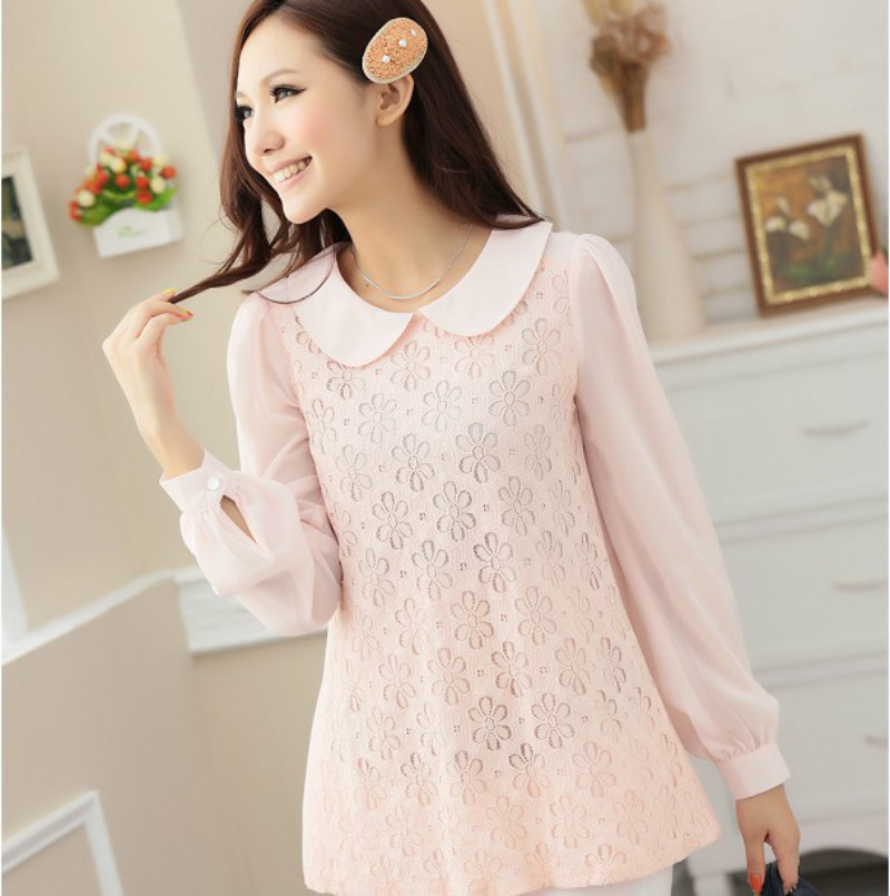 3 colors Patchwork blouses for the women 2012 chiffon, long sleeve women blouses and tops, plus size lady shirt, S-XXXL(China (Mainland))