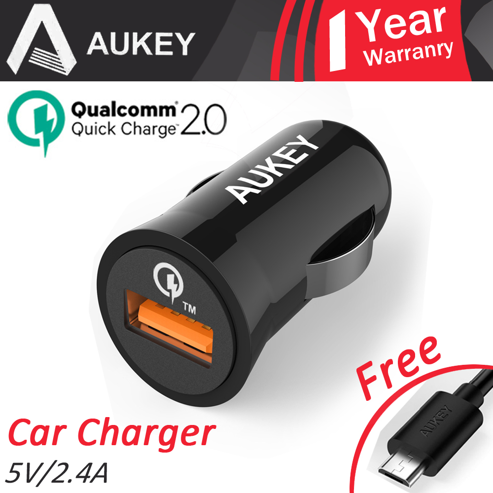 AUKEY Certified 2.0 Quick Charge USB Car Charger with 2.4A Electronic Cigarette Intelligent Charge for Samsung Galaxy CDCCCT5b(China (Mainland))