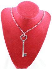 popular silver heart key necklace