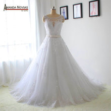 2016 New Model Crystal Belt Lace Appliques Wedding Dresses Real Photos(China (Mainland))