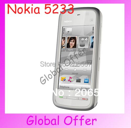 5233 Original Unlocked Nokia 5233 mobile phone 2MP camera Vedio Bluetooth Touchscreen Smartphone refurbished 1 year warranty(China (Mainland))