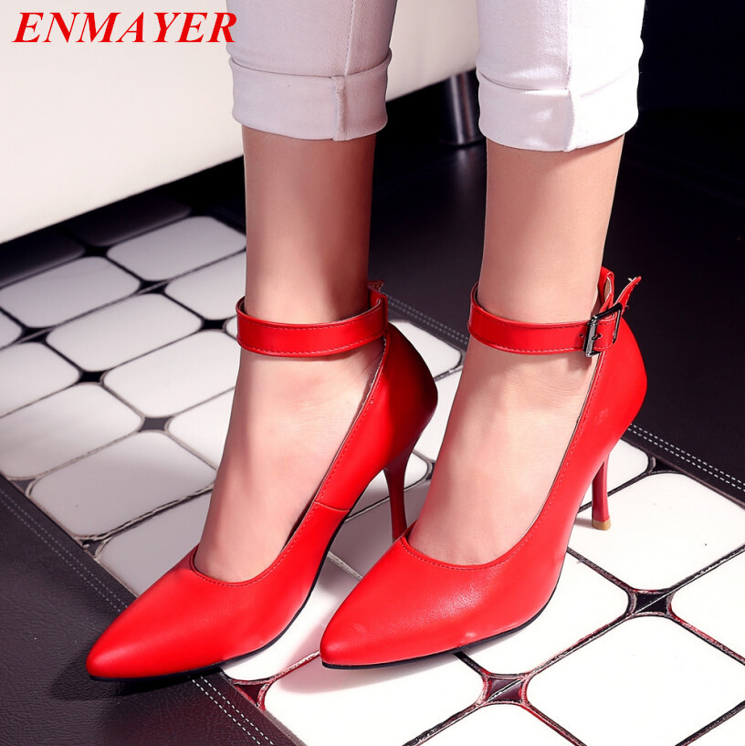 ENMAYER women pumps Buckle Strap Classics Ankle Strap platform pumps Pointed Toe Thin Heels 2015 new shoes pumps Size 34-43<br>