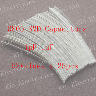0805 SMD Ceramic Capacitor Assorted Kit 1pF~1uF 52values*25pcs=1300pcs Chip Ceramic Capacitor Samples kit(China (Mainland))