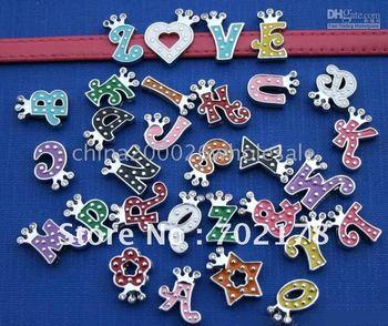 130pcs 8mm A-Z Crown colorful Slide letters Charm DIY Accessories fit wristband & pet collar
