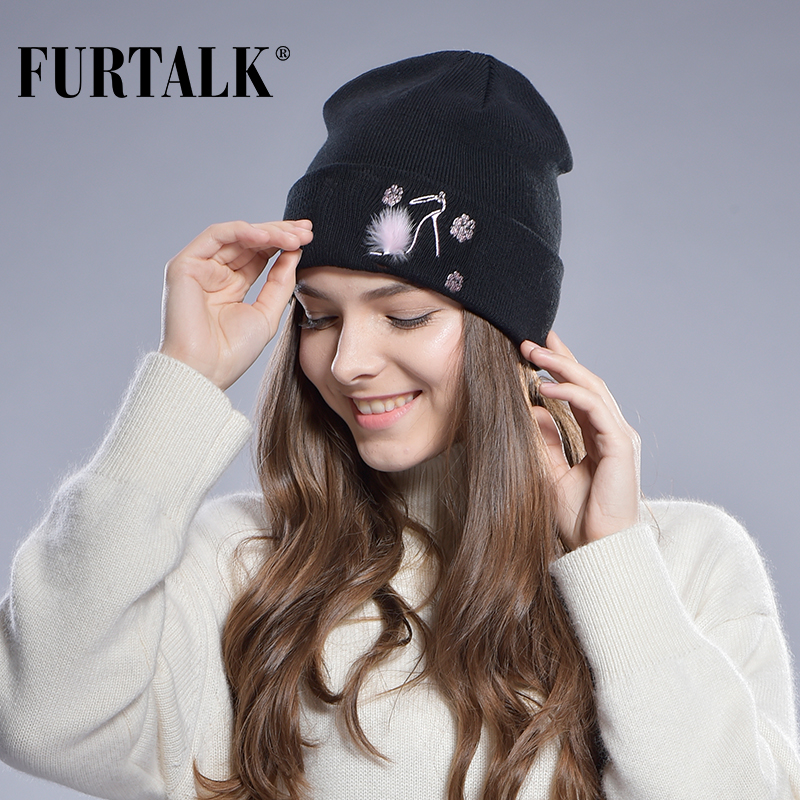FUTTALK Spring Autumn Hats for Women Wool Cotton Girls Hat Cap Knitted Beanie Hat Embroidered Caps Real Mink Fur Decoration(China (Mainland))
