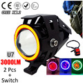 1 pair 125W Motorcycle Headlight Motorbike spotlight 3000LM Motos U7 LED Driving Spot Head Light auxiliary