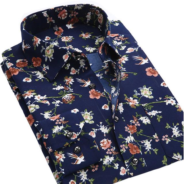 Лето новых людей свободного покроя рубашки мода с длинным рукавом бренда напечатаны ...