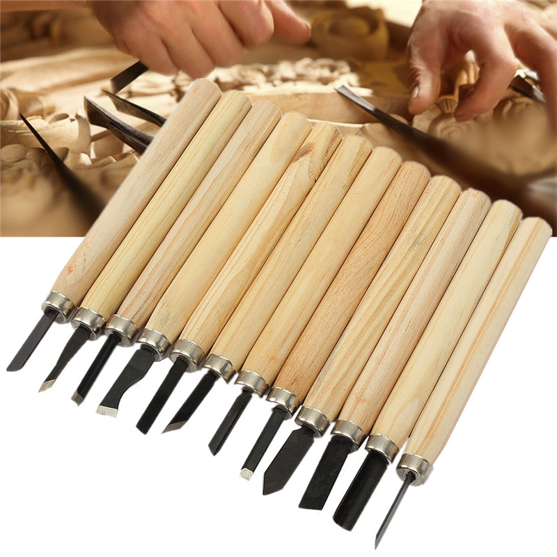 Best Price High Quality 12pcs/Set Hand Wood Carving Chisels Knife For Basic Woodcut Working DIY Tools(China (Mainland))