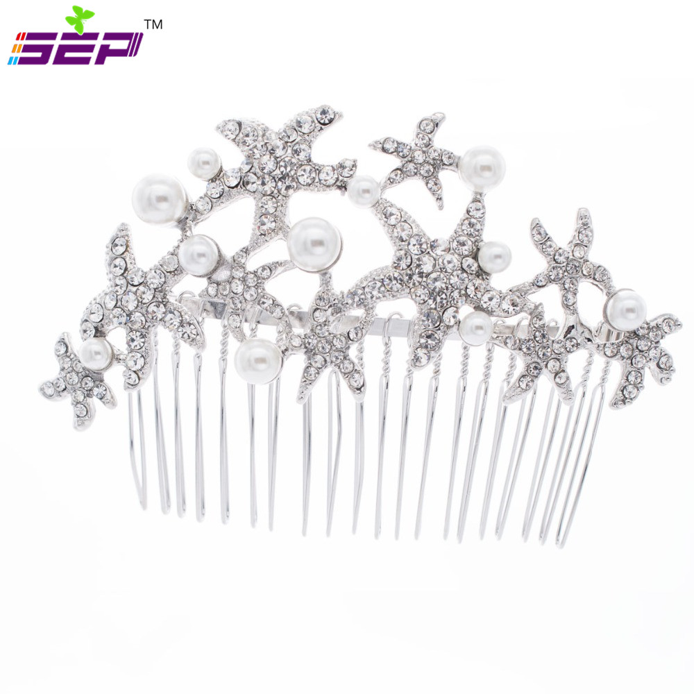 Trendy Starfish Rhinestone Crystals Hair Combs Pearl Jewelry Women Hairpins Bridal Wedding Hair Accessories 201592(China (Mainland))