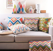 Boho style blue green orange geometric pillow/almofadas case cushion cover