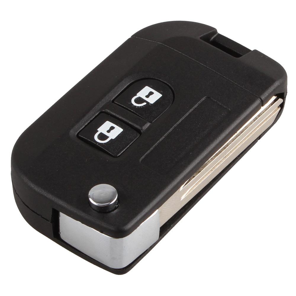 [해외]2 버튼 닛산 마치 용 플립 시계 줄 원격 자동차 키 쉘 콤보 포..