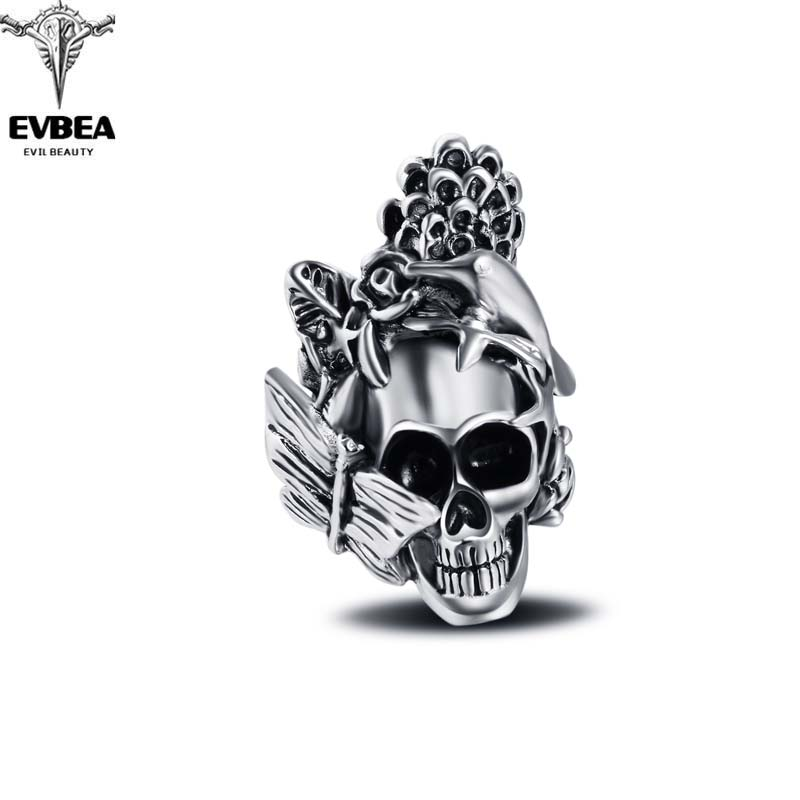 Racing Stretch Hip Hop Rock Boho Silver Gothic Punk Skull Big Adjustable Bikers Motorcycle Rings Men's & Boys' Jewelry(China (Mainland))