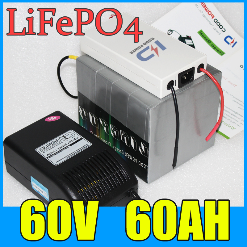 60V 60AH LiFePO4 Battery Pack ,3000W Electric bicycle Scooter lithium battery + BMS + Charger , Free Shipping(China (Mainland))