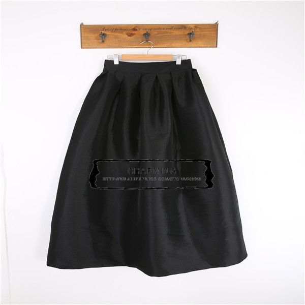 2015 solid skirts green black white knee length high