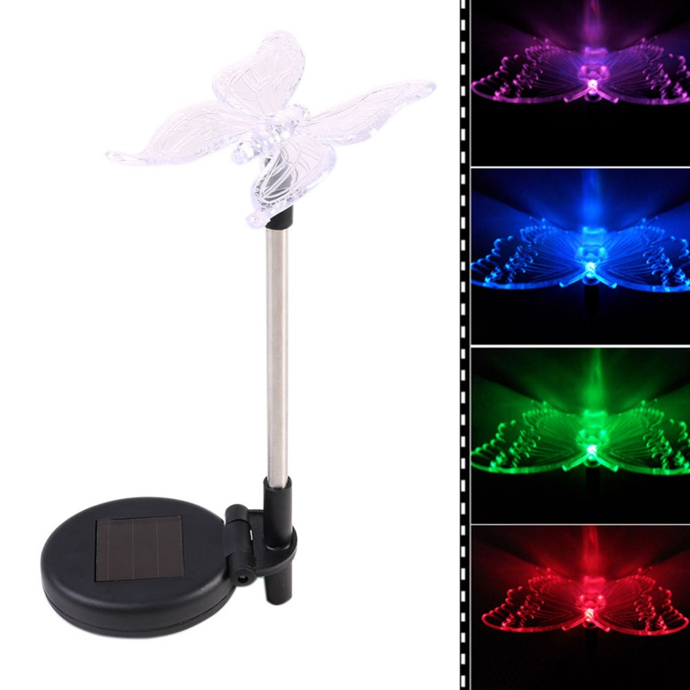 Led solar light outdoor dragonfly butterfly bird type for Outdoor decorating with solar lights