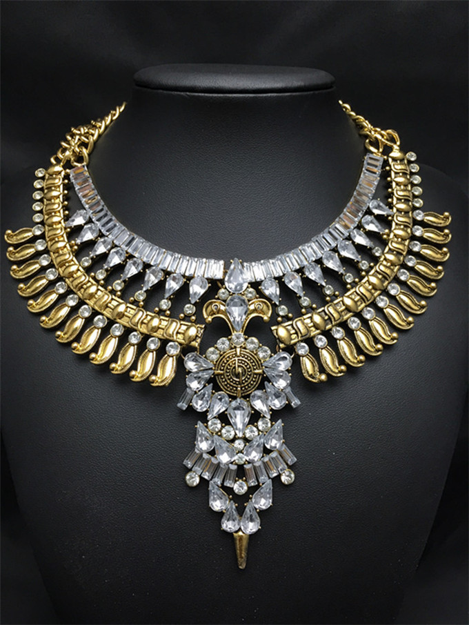 2015 New Jewelry Exaggerated Knitting Wool Pass Through Gold & Silver,Resins Rhinestones Arrows Collar Choker Necklaces(China (Mainland))