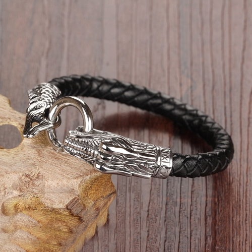 2015 New Fashion Fine Mens Jewelry Genuine Leather Bracelets Stainless Steel Chain Dragon Head Vintage bracelet