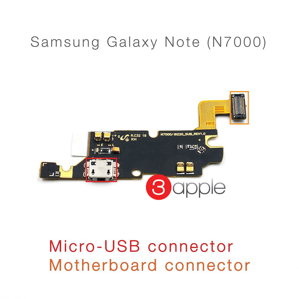 100% original cell phone parts Flex Cable For samsung galaxy note n7000 micro usb charging port connector motherboard(China (Mainland))