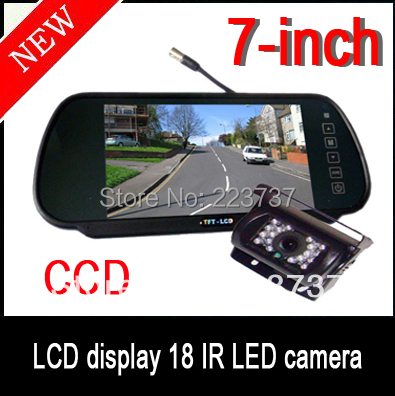 "18 IR LED CCD HD Reverse Camera Car Rear View  + 7 ""LCD Monitor  Free shipping"