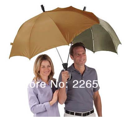 Free shipping 1Piece The Dualbrella / Two Person Umbrella Lover Umbrella Couples Umbrella(China (Mainland))
